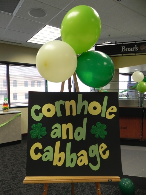 Cornhold and Cabbage sign {St Patrick's Day Cornhole Game}
